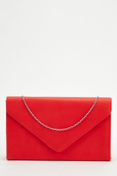 Faux Leather Envelope Clutch