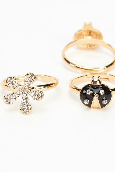 Set Of 2 Lady Bird Mixed Rings