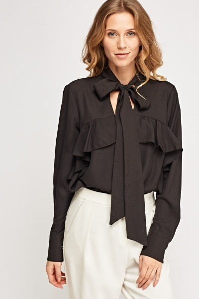 Flared Tie Up Neck Blouse