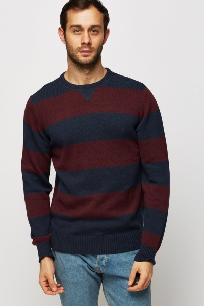 Striped Knitted Round Neck Jumper