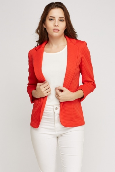 Ribbed Lapel Front Blazer