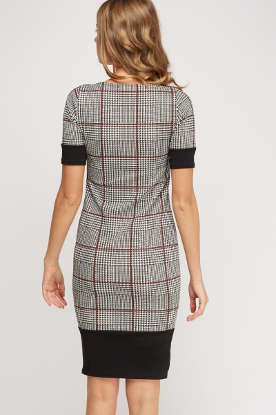 Textured Checked Contrast Dress