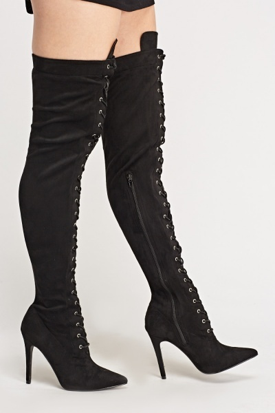 Suedette Lace Up Over The Knee Boots