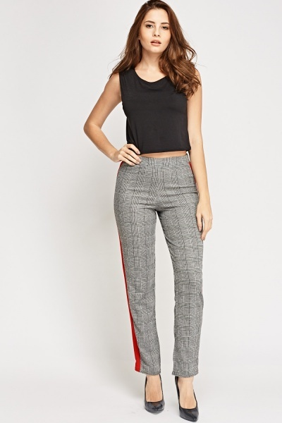 Houndstooth Red Trim Treggings