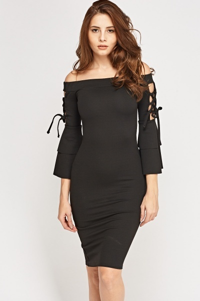 Off Shoulder Tie Up Sleeve Dress