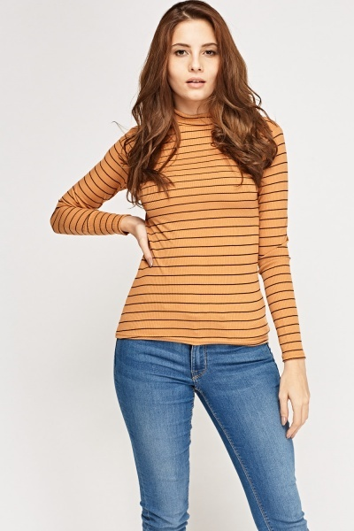 Striped High Neck Ribbed Top