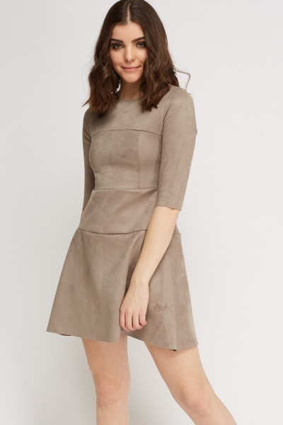 3/4 Sleeve Suedette Dress