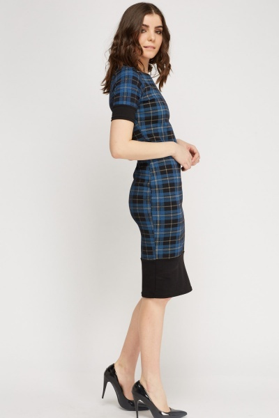 Checked Contrast Hem Dress