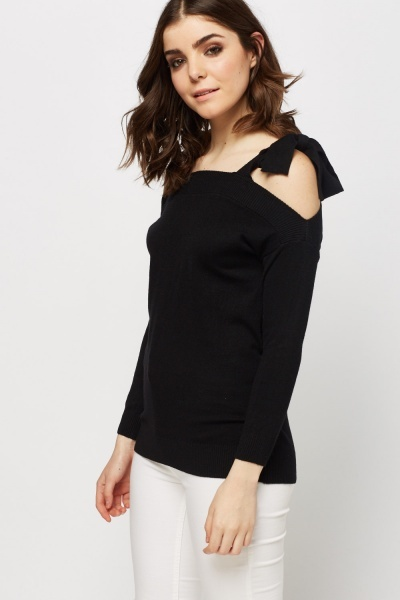 Knitted Tie Up Sleeve Jumper