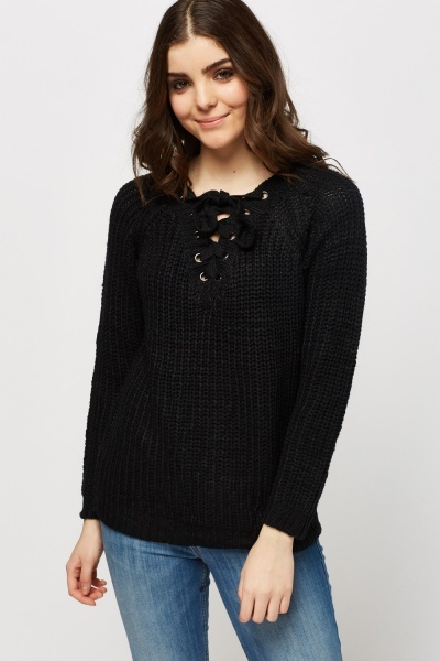Lace Up Front Cable Knit Jumper