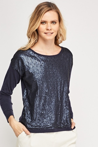 Sequin Contrast Jumper