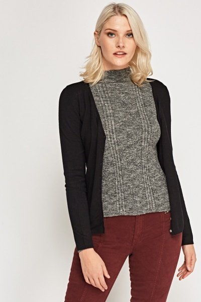 Low Neck Button Up Cardigan