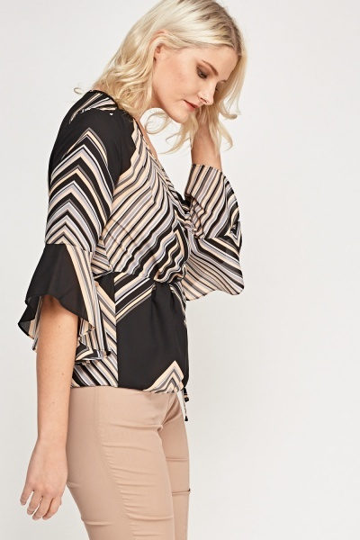 Flared Trim Printed Top
