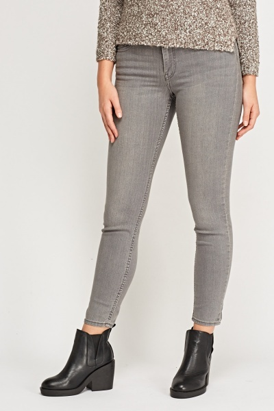 Grey Skinny Leg Denim Jeans