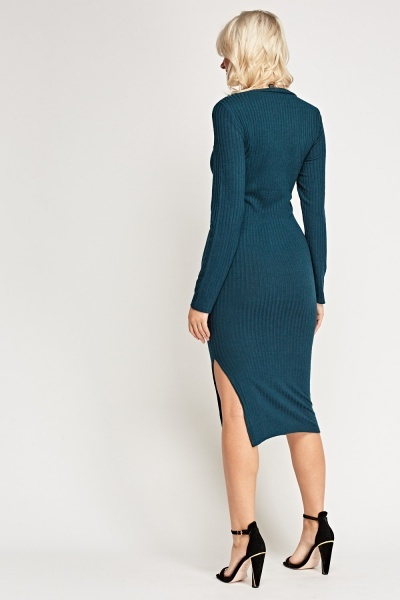 V-Neck Ribbed Teal Dress