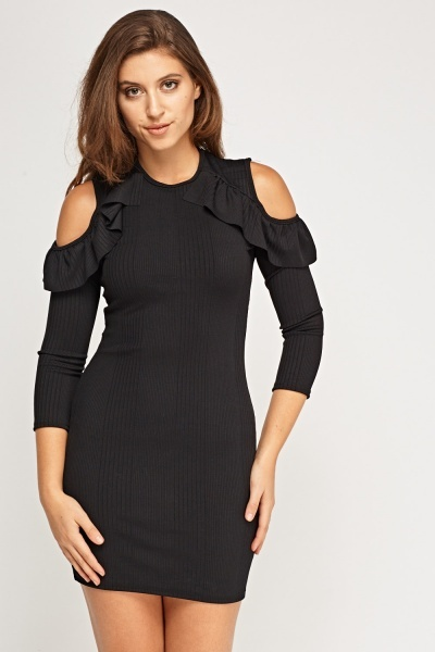 Frilled Cut Out Shoulder Dress