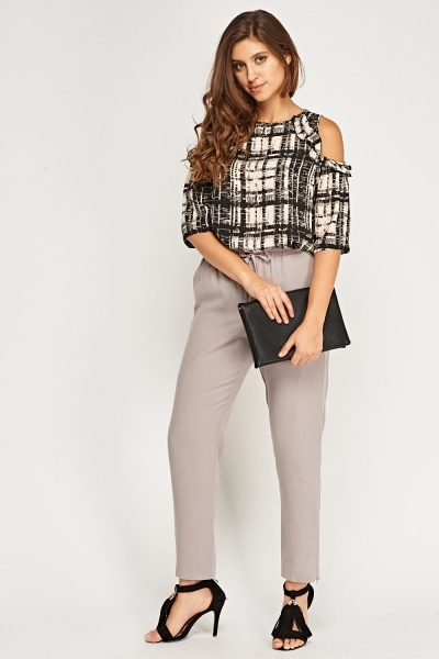 Frilled Cut Out Shoulder Metallic Top