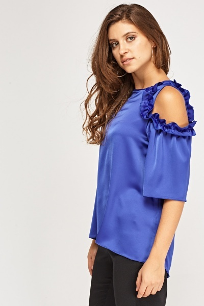 Frilled Cut Out Shoulder Silky Top