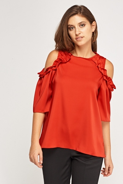 Frilled Cut Out Shoulder Top