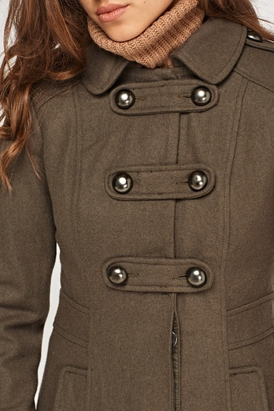 Military Dark Olive Fitted Coat