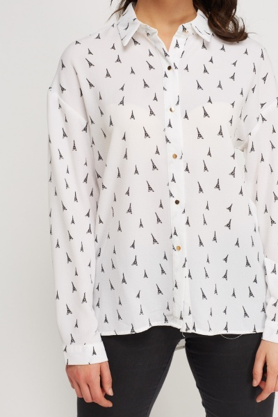 Eiffel Tower Printed Blouse