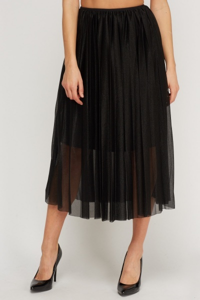 Metallic Mesh Pleated Skirt