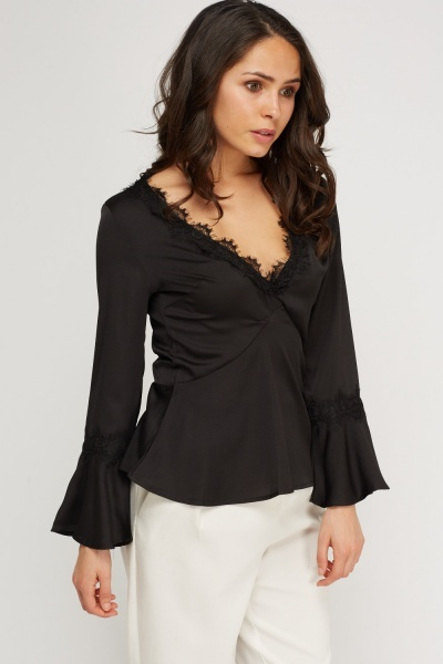 V-Neck Lace Sheer Top
