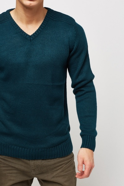 V-Neck Ribbed Knitted Shoulder Jumper