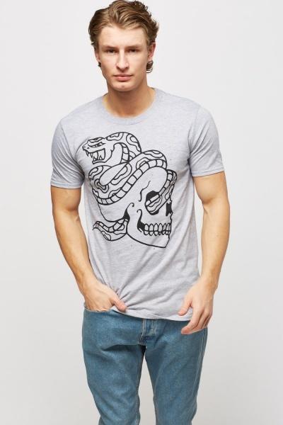 Snake And Skull Print Grey T-Shirt