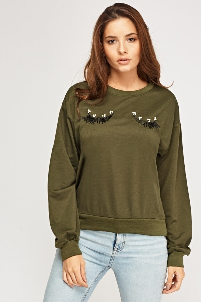 Embellished Eyelash Detail Jumper