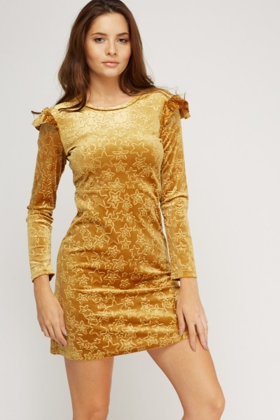 Embossed Star Velveteen Dress