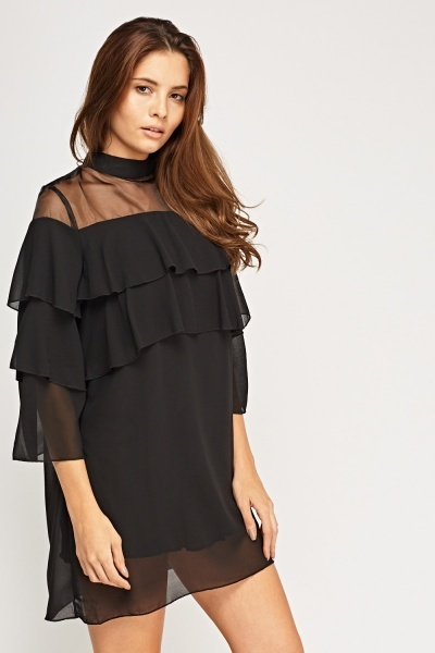Flare Sheer Mini Dress
