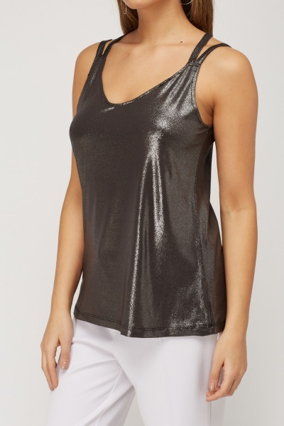 Criss Cross Back Metallic Top