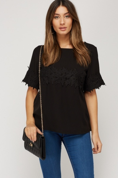 Crochet Trim Contrast Top