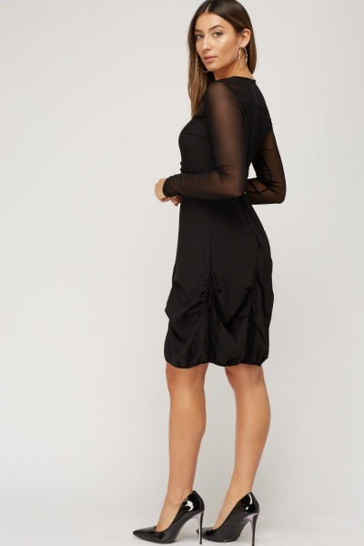 Ruched Hem Mesh Insert Dress