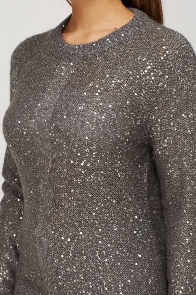 Sequin Embellished Knitted Jumper