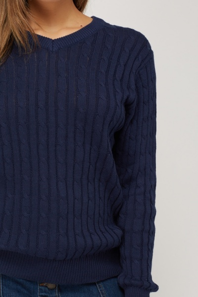V-Neck Cable Knit Casual Jumper