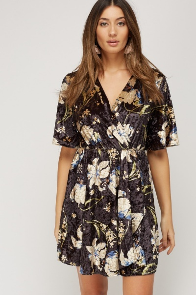 Wrapped Velveteen Printed Dress