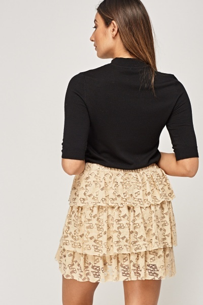 Flared Layered Mini Skirt