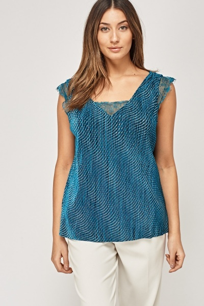 Lace Insert Glitter Top