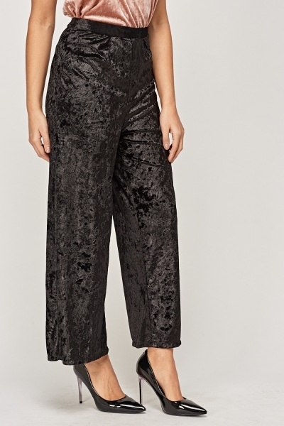 Wide Leg Velveteen Casual Trousers