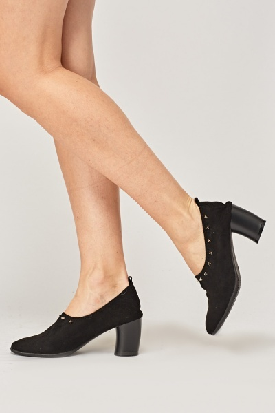 Elasticated Suedette Studded Heels