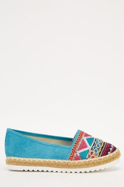 Embroidered Contrast Espadrille Shoes
