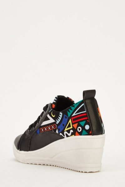 Geo Printed Lace Up Wedged Trainers