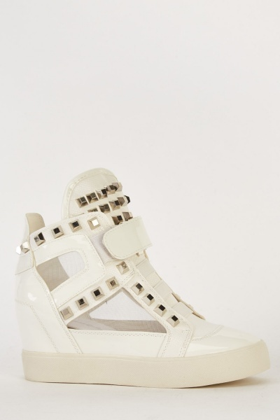 Insert Mesh Studded Wedged Trainers