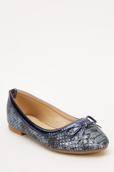 Metallic Mock Croc Ballet Pumps