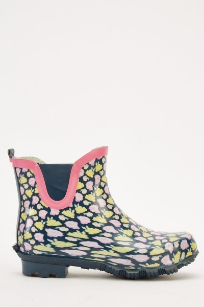 PVC Floral Printed Ankle Wellies