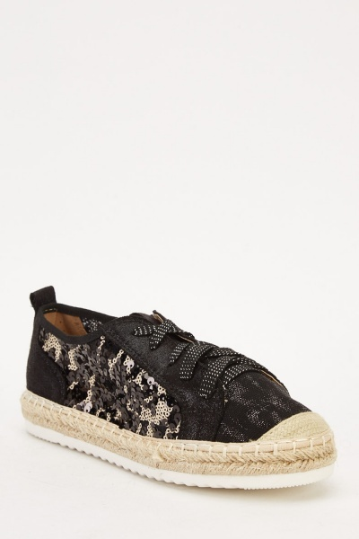 Sequin Contrast Espadrille Shoes