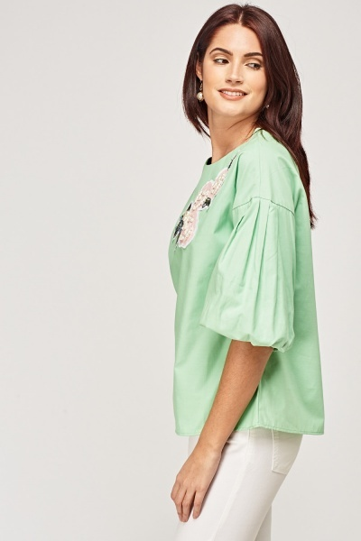 Applique Balloon Sleeve Top