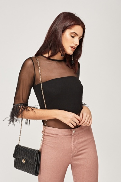 Mesh Feather Sleeve Top